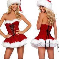 Wholesale christmas lingerie santa costume resale online - Cute Women Christmas Cosplay Costume Strapless Mini Dress Lace Up Lingerie Miss Santa Fancy Dress With Hat