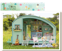 Wholesale Diy Dollhouse Kits - DIY Doll House Wooden Doll Houses Miniature dollhouse Furniture Kit Toys for children Gift Time travel doll houses