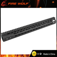 "Wholesale Mounts Rails - FIRE WOLF 15"" inch Free Float NSR KeyMod Handguard Mount Bracket with Detachable Rail BLACK Barrel Nut For AR-15 M4 M16"