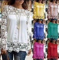 Wholesale Lace Crochet Tank - Fashion Women Sheer Sleeve Embroidery Lace Crochet Tee Chiffon