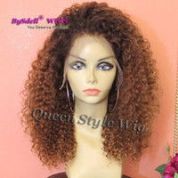 Wholesale Pink Blonde Hair - New Synthetic Heat Resistant Lace Front Wig Black Rooted Ombre Brown Color Kinky Curly Hair Lace Front Wigs for Black Women