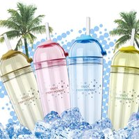Wholesale Drink Bottles For Children - Wholesale- 420ml Summer Water Juice Bottle Plastic Smoothie Iced Coffee Polar Ice Drink Cup For Student Children Free Shipping Straw Type