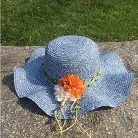 Wholesale Wide Brim Hats For Girls - Hot Sale Straw Sun Hats For Women Girls Cap Anti-UV Beach Summer Floppy Cap For Ladies Flower Straw Hat With A Wide Brim