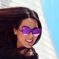 фиолетовые отражающие солнцезащитные очки оптовых-Мода фиолетовый светоотражающие женщины солнцезащитные очки без оправы негабаритных дамы Cateye зеркало линзы солнцезащитные очки UV400