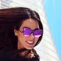 gafas de sol reflectantes moradas al por mayor-Moda púrpura reflexivo mujer sin montura gafas de sol de gran tamaño señoras Cateye espejo lente gafas de sol UV400