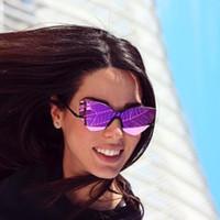 lila reflektierende sonnenbrille großhandel-Mode Lila Reflektierende Frauen Randlose Sonnenbrille Übergroßen Damen Cateye Spiegel Objektiv Sonnenbrille UV400