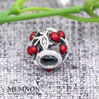 Wholesale Sweet Cherry Bracelet - 2016 New Summer Style Silver Sweet Cherries charms 925 sterling silver fine jewelry charm fit beads bracelet Diy Making BE362
