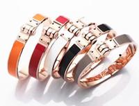 Wholesale horseshoe sets - 2017 Wholesale high quality titanium bracelet bracelet 18K H black gray orange golden horseshoe buckle bracelet