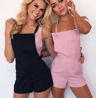 Wholesale Open Back Rompers - Womens Jumpsuit 2017 Casual Sleeveless Summer Short Playsuit Overalls Sexy Open Back Beach Combinaison Femme Rompers