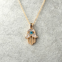 Wholesale Turkish Link Gold - Wholesale- 1PC Turkish Crystal Evil Eye Hand Hamsa Pendant Necklace Womens Silver Gold Plated Jewelry Hollow Out Clavicle Link Chains