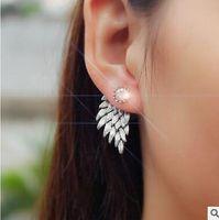 Wholesale Sharp Studs - Retro stereo angel wings stud earrings earrings Feather set auger alloy wear sharp earring stud four colors can choose