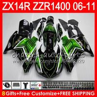 Wholesale kawasaki zx14r - Body For KAWASAKI NINJA ZZR1400 14 R ZX14R 06 07 08 09 10 11 63HM9 green black ZZR 1400 ZX-14R ZX 14R 2006 2007 2008 2009 2010 2011 Fairing