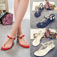 Wholesale Cute Summer Heels - Shoes summer flip-flops diamond beads pearls rhinestone flat beach shoes buckle cute sandals solid color