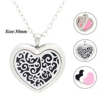 Wholesale Crystal Floats - New Arrival Essential Oil Diffuser heart Perfume Locket Pendant Necklace Stainless Steel floating locket free with chain