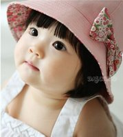 Wholesale baby sunhats - Fashion Two Sided Baby Sun Hat Floral bowknot Infant Pure Cotton Flower Sun Helmet Children Headwear Toddle Sunbonnet Baby Sunhat Girls Bow