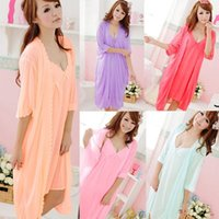 Wholesale Sexy Girls Nightgown - Wholesale- Hottest Fashion Dress Accessories New Sexy Girls Women Sling Lingerie Sleepwear 2pcs sleep Dress Silk Robe Nightgown