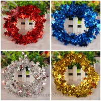 Wholesale Blue Tinsel - 10pcs 22.5 feet Glittering Red (yellow, green, blue, rose red, silver) Star Shaped Tinsel Wire Garland Christmas Tree Decoration
