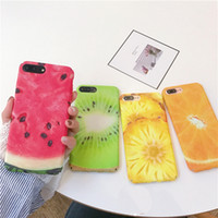 Wholesale Colorful Plastic Iphone Cases - Summer Colorful Fruit Cases for iPhone 7 Case Matte Watermelon Pineapple Orange Kiwi Phone Back Cover for iPhone 7 Plus 6 6s