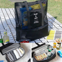 Wholesale Wholesale Beach Stuff - Cooler Bags Lunch Multifunction Beach Cooler Bag Outdoor Picnic Package Kitchenware Storage Mesh Tote Cooler Bag Beach Lunch Pack KKA1820