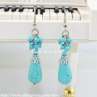 Cluster Turquoise Beads Hook Earrings para mujeres Diseño de la personalidad Hook Stainless Steel Silver Plated Cualquier color disponible para pedido personalizado