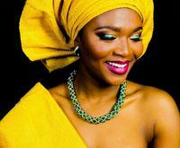 rosa sego headtie großhandel-afrikanische perlen schmuck set grün silber farbe halskette set match für gelbe headtie gele afrikanische sego nigerian hochzeit aso ebi styles