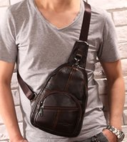 Wholesale Leather Body Sling - Wholesale- Men Vintage Genuine Leather Travel Motorcycle Cross Body Messenger Shoulder Sling Day Pack Chest Bag