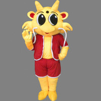 Wholesale Red Dragon Mascot Costume - Chinese Cute Dragon Mascot Red Clothes Costume Fancy Birthday Party Dress Halloween Carnivals Costumes With High Quality Free Shipping