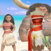 Wholesale Easter Character Costume - NEW Summer Sleeveless Dress Moana dress Cosplay Costume Polynesia Carnival Halloween Easter Mother&kids Princess Girl Dress JC142