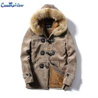 Wholesale Winter Fur Slim Coat Keep - Wholesale- Fashion Winter Jacket Horns Button Fur Collar Suede Leather Wadded Jacket Medium-long Keep Warm Lovers Cotton-padded Coat Cashme
