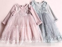 Wholesale Embroidery Baby Dress - 2017 Autumn New Baby Girl Dress Lace embroidery Splice gauze Long Sleeve Dress Children Clothing 316964