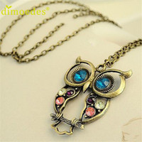 Wholesale Best Ladies Sweaters - Wholesale-Best seller Diomedes Fashion Lady Crystal Big Blue Eyed Owl Long Chain Pendant Sweater Coat Necklace collar escudo Apr13