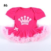 Wholesale Girls Skirt Shorts - Baby dress Romper Birthday Party dress Baby girl clothing 1year Princess tutu Skirt dress Puff sleeve 0-18months 2017 Hotsale