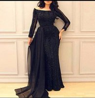 Wholesale Strip Chiffon - 2017 Black Elegant Evening Dresses with Strip Beading Boat Neckline Floor Length Long Sleeves Vestiso De Festa