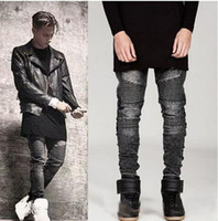 Wholesale Famous Skinny Stretch - Mens Ripped Biker Denim Jeans Famous Brand Designer Skinny Ripped Motorcycle Jean Mens Distressed swag Jogger Jeans stretch fabric