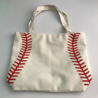 Wholesale Materials Handling - 2017 small canvas bag Baseball Tote Bags Sports Bags Casual Tote Softball Bag Football Soccer Basketball Bag Cotton Canvas Material