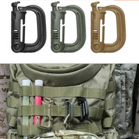 Wholesale plastic snap clips - Wholesale-1PC Molle Tactical Backpack Carabiner Outdoor Plastic EDC Shackle Carabiner Practical ABS Snap D-Ring Clip Keyring Locking Ring