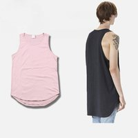 Wholesale Couples Tank Tops - Justin Bieber Kanye West Men Tank Tops 2016 High Quality Hip Hop Style Arc Bottom Lengthened Solid Cotton Vest Couple Tank Tops