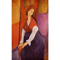paint a door - Jeanne Hebuterne aka In Front of a Door by Amedeo Modigliani Paintings Woman abstract art High quality Hand painted