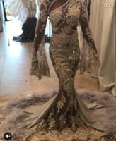 Wholesale Elegant Style Crystals Wedding Dresses - New Style Beaded Lace Appliques Long Sleeve Wedding Dresses 2017 Appliques Beaded Elegant Garden Vestios De Novia Plus Size Bridal Gowns