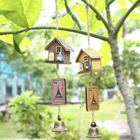 Wholesale Art Chimes - Wholesale- Japanese Totoro Wooden House Landscape Garden Outdoor Decor Wind Chime Bell