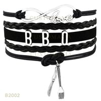 Wholesale Bbq Day - (10 Pieces Lot) Infinty Love BBQ Charm Bracelets Leather Wrap Black Mint Blue Bracelets Drop Shipping