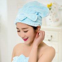 Wholesale Super Absorbent Hair Towels - Quick Dry Bowknot Hair Drying Cap Hair Dryer Bonnet Coral Fleece Women Towel Super Absorbent Hair Accessories