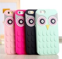 Wholesale Owl Iphone 4s Cases - 3D Cute Cartoon OWL Design Soft Silicon Rubber Phone Case Cover For iPhone 4 4S 5 5S 6 6S 7 7plus S6 S7