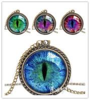Wholesale Vintage Rhinestone Choker - choker 2017 Vintage Jewelry Wholesale Blue Green Cat Eye Necklace Pendant Fashion Charming Rhinestone Ethnic Necklace for Men Women
