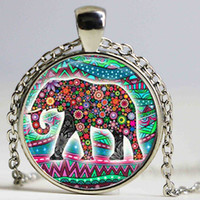 Lucky Elephant Statement Collier 2016, Elephant Picture Pendentif Choker Collier, Bonne Chance Charm Elephant Bijoux