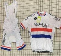 Wholesale Cycling Team Jersey British - 2017 AQUA BLUE Pro TEAM BRITISH CHAMPION WHITE Short Sleeve Cycling Jersey Bike Bicycle Wear With (bib) Shorts Size XS-4XL