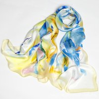 Wholesale flower hijabs - Fashion Flower Print Colorful Silk Scarf 100% Real Silk Shawl Pashmina Capes Pure Silk Hijabs Wraps For Women Scarves 2017