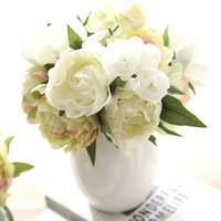 Wholesale Fake Flower Bouquets - 8 Peony Flowers Head Bouquet Artificial Peony Silk Flowers Fake Leaf Home and Wedding Party Decoration