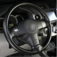 Wholesale Steering Wheel Cover Soft Leather - DIY Steering Wheel Covers Extremely soft Leather braid on the steering-wheel of Car With Needle and Thread Interior accessories