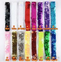 16 Color Baby Girls Elastic Head Bands Performance Используйте полоску для волос Sequin Hair Christmas Christmas Kids Kids Hair Sticks Аксессуары для волос